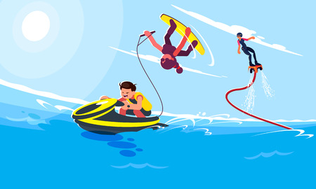 Flat style illustrations of characters in popular summer beach activities and water activities. The guy rides a water scooter on the waves of the sea. The girl follows the water scooter and does a trick on a wakeboard. Flyboardist flies up above the waves against the backdrop of the sea landscape on a sunny day.