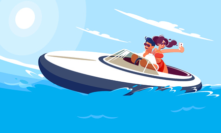 Cheerful young guy with a girl ride a boat on the sea on a sunny summer day. A girl in a light red dress makes selfie with her boyfriend on a moving boat. Flat style illustration of smiling characters engaged in active sports and entertainment.