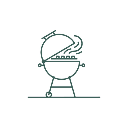 Line style barbecue icon. Sign - Brazier for cooking meat or vegetables at a picnic. Minimal illustration for designation of outdoor grill devices. Illustration