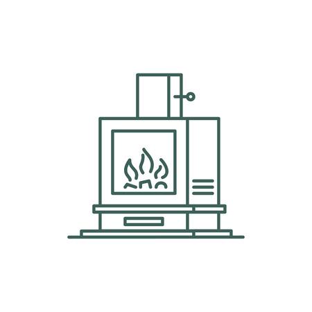 Minimalistic line style heating stove icon for ui Foto de archivo - 124754501