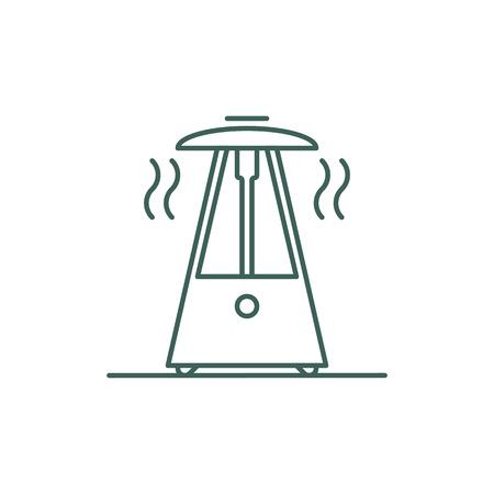Icône de ligne de chauffage à gaz extérieur isolé sur fond blanc.