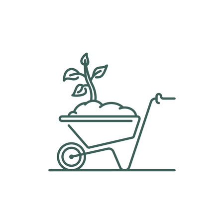 Wheelbarrow line icon. Barrow with soil and tree seedling. Outline vector sign
