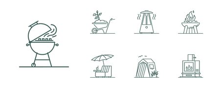Line style barbecue icons set. Minimal illustration for designation of outdoor grill, bbq and heating devices and furniture.