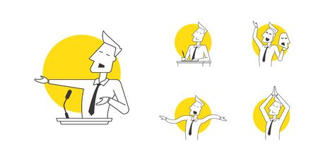 Speaker icons in various poses and manifestations of professional skills. Line design icons for explaining the practical components of oratory: leadership, success, influence, freedom, will, support, performance. Images indicate areas of study in acting classes for business people. Modern linear illustration concept for web site and mobile app.