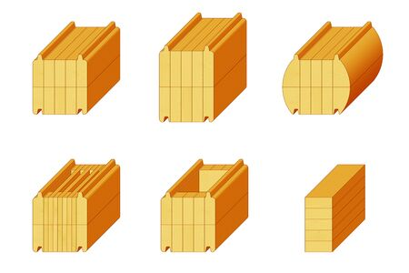 Set of isometric icons for types of pine glued beam. Various wooden materials for the construction of prefabricated buildings. Images of timber samples of different sizes and compounds to demonstrate the range of materials for construction. Foto de archivo - 132118969