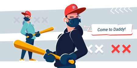 Cheeky young man with a respiratory mask and a baseball bat causes coronavirus to fight