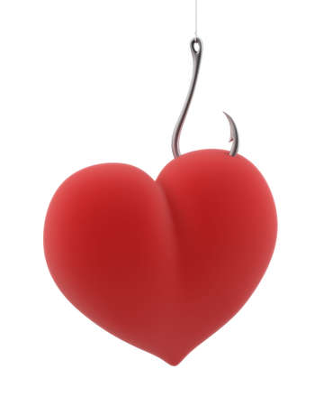 witchery: Heart caught on a hook on the isolated white background Stock Photo