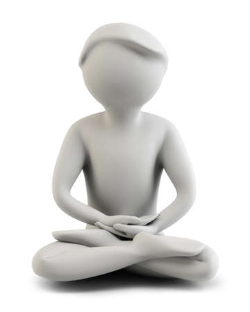 soul searching: 3d the person meditating. 3d image. Isolated background.