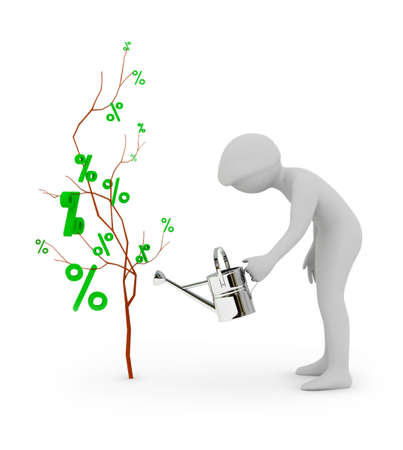 3d people waters a tree of percent. 3d image. Isolated white background. photo