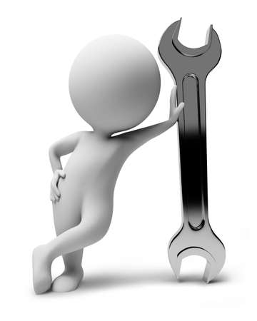 3d small people with a wrench. 3d image. Isolated white background. photo