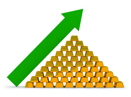 Pile of gold ingots with an arrow. Growth of the price for gold. photo