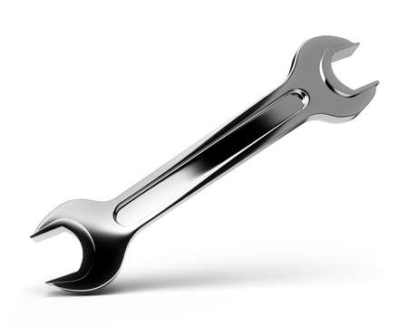 The polished steel wrench on the isolated white background. 3d image. photo