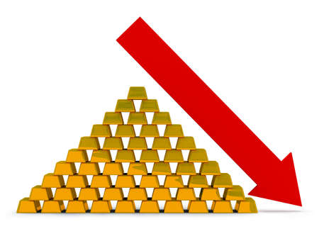 Pile of gold ingots with an arrow. Recession of the price for gold. photo