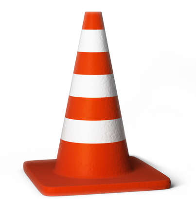 Traffic cones. 3d image. Isolated white background. photo