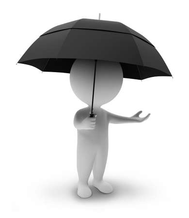 wet men: 3d small people with a umbrella. 3d image. Isolated white background.