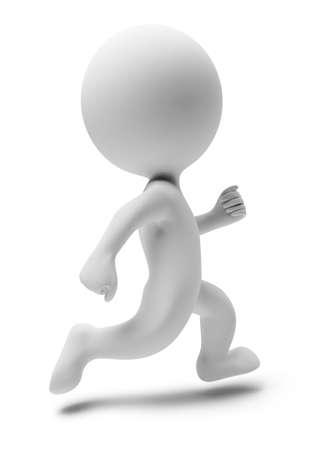 personas corriendo: gente peque�a 3D que se ejecuta. imagen 3D. Fondo blanco aislado.