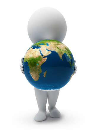 3d small people with a planet the Earth. 3d image. Isolated white background.