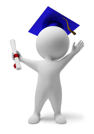 3d people: 3d small people the received diploma. 3d image. Isolated white background.