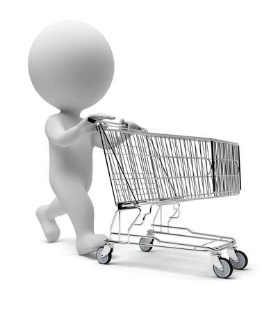 3d small people with a store cart. 3d image. Isolated white background.