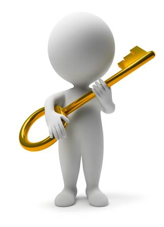 3d character: 3d small people with a gold key. 3d image. Isolated white background.