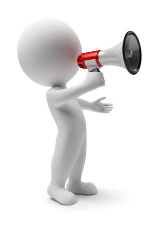 hombre megafono: personas peque�as 3D con un meg�fono en una mano. imagen 3D. Fondo blanco aislado.