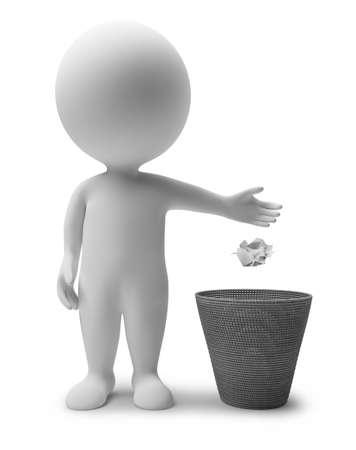 �garbage: 3D personas peque�as tirando polvo en un cesto de basura. imagen 3D. Fondo blanco aislado.