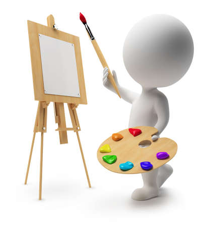 3d small person: 3d drawing small people with an easel, paints and a brush. 3d image. Isolated white background. Stock Photo