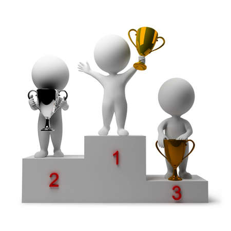 winners podium: 3d small people - rewarding of winners. 3d image. Isolated white background.