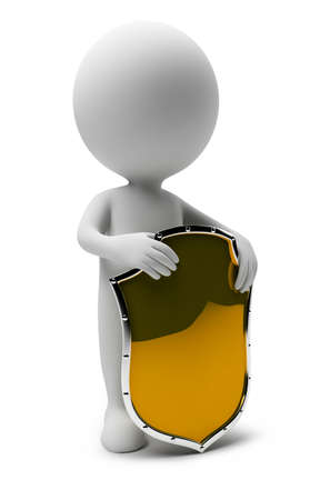 3d shield: 3d small people with a gold shield. 3d image. Isolated white background.