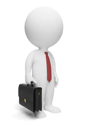 3d small people: 3d small people - businessman with a portfolio and a tie. 3d image. Isolated white background.