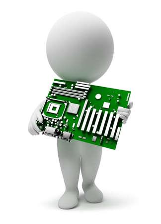 transistor: 3D personas peque�as con una motherboard. imagen 3D. Fondo blanco aislado.