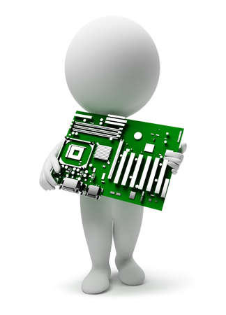 3d small people with a motherboard. 3d image. Isolated white background. photo