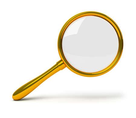 Golden loupe. 3d image. Isolated white background. Stock Photo - 6402286