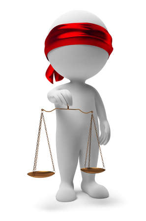 comparison: 3d small people with scales. A justice symbol. 3d image. Isolated white background.