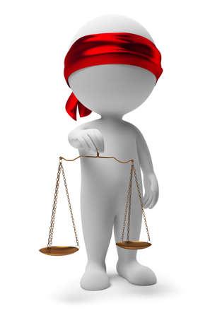 advocate: personas peque�as 3D con escalas. Un s�mbolo de la justicia. imagen 3D. Fondo blanco aislado.