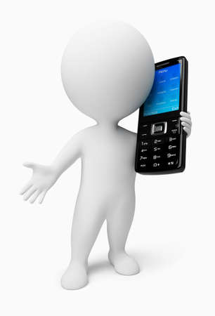 3d small people with a black mobile phone. 3d image. Isolated white background. Stock Photo - 6514452