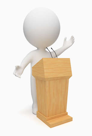 3d small people speaking from a tribune. 3d image. Isolated white background. Stock Photo - 6514454