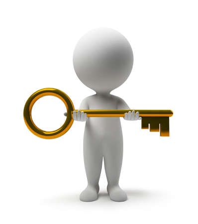 gold key: 3d small people with a gold key in hands. 3d image. Isolated white background.