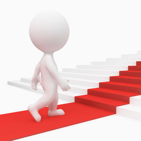 3d small people going on a red path upwards on steps. 3d image. Isolated white background. photo