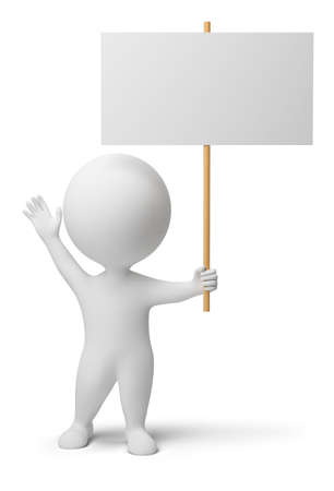 demonstrations: 3d people with the blank announcement in hands. 3d image. Isolated white background.