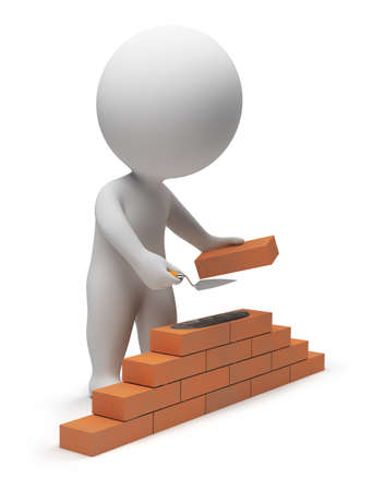 construct: 3d small people - builder laying down bricks. 3d image. Isolated white background.
