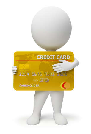 3d people: 3d small people with a credit card in hands. 3d image. Isolated white background. Stock Photo