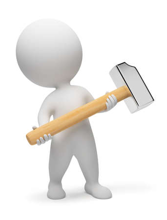 3d small people: 3d small people with a hammer in hands. 3d image. Isolated white background.