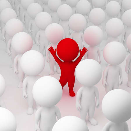 segregate: 3d small people allocated from crowd. 3d image. Stock Photo