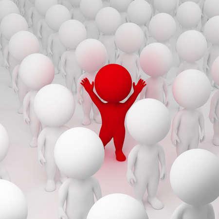 1 person: personas peque�as 3D asignadas de multitud. imagen 3D.