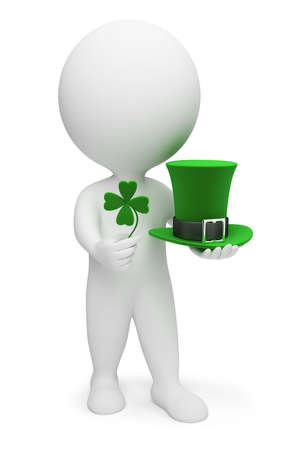 3d small people with a clover and a hat. Saint Patrick. 3d image. Isolated white background. photo