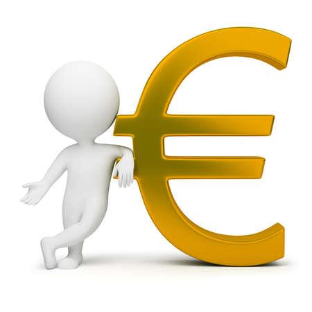 3D kleinen Leute mit einem gold Eurozeichen. 3D Abbild. Isolated white Background.