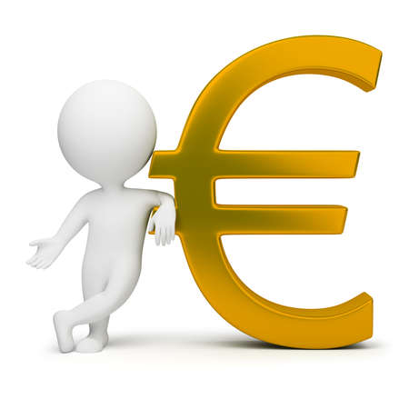 3d small people with a gold euro sign. 3d image. Isolated white background.