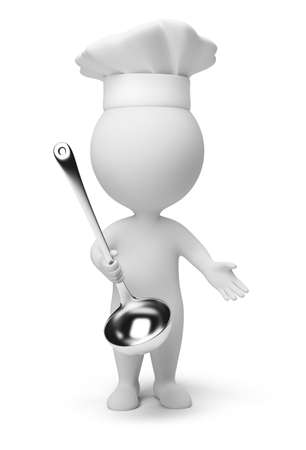 3d small people: 3d small people - cook with a ladle in hand. 3d image. Isolated white background.