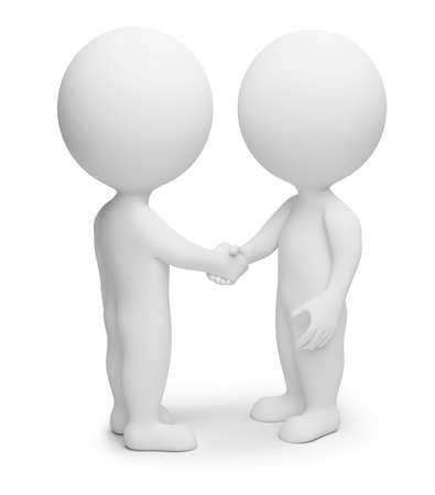 3d small people - friendly hand shake. 3d image. Isolated white background.